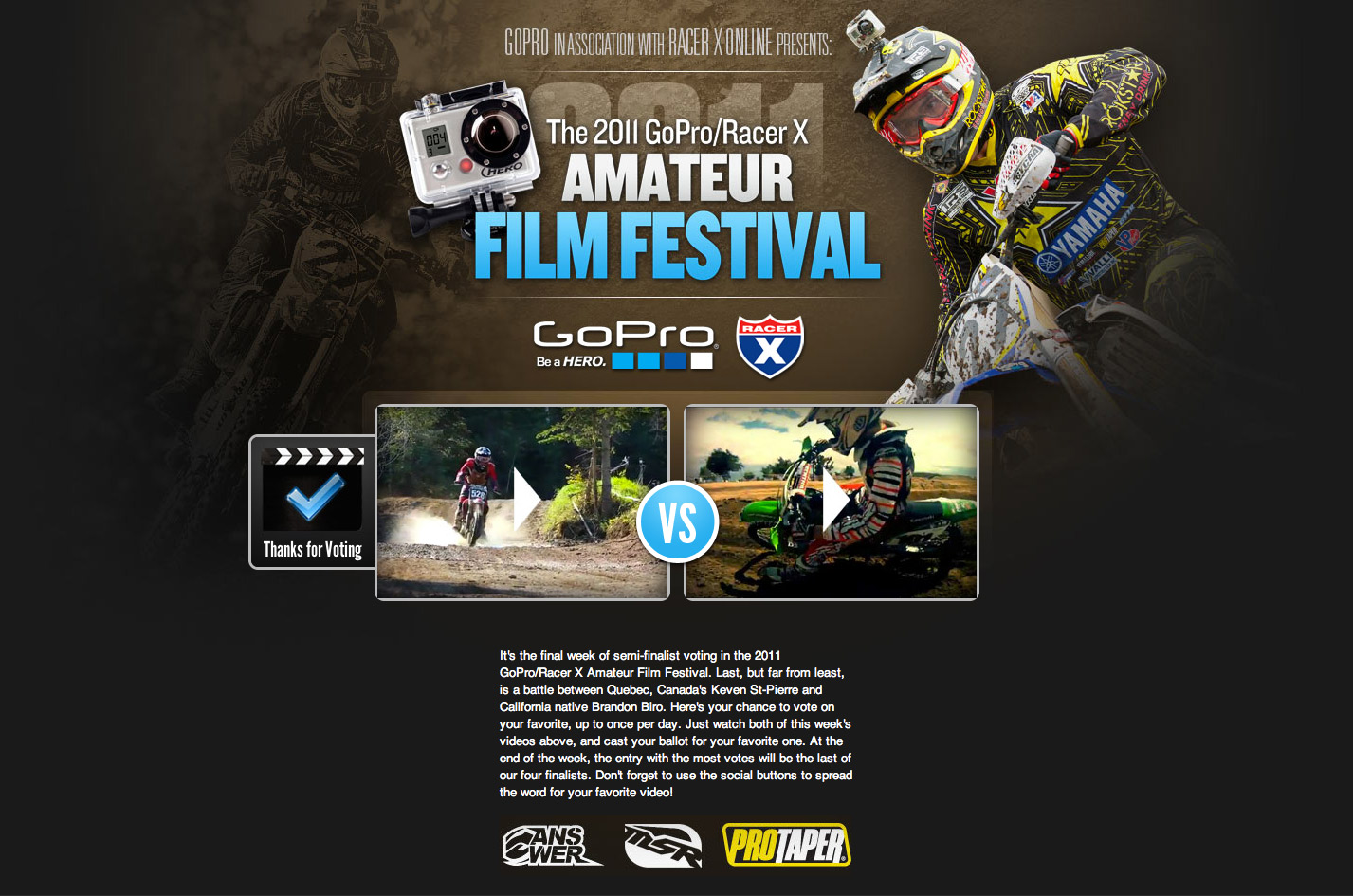 Racer X Amateur Film Festival - Head to Head Voting