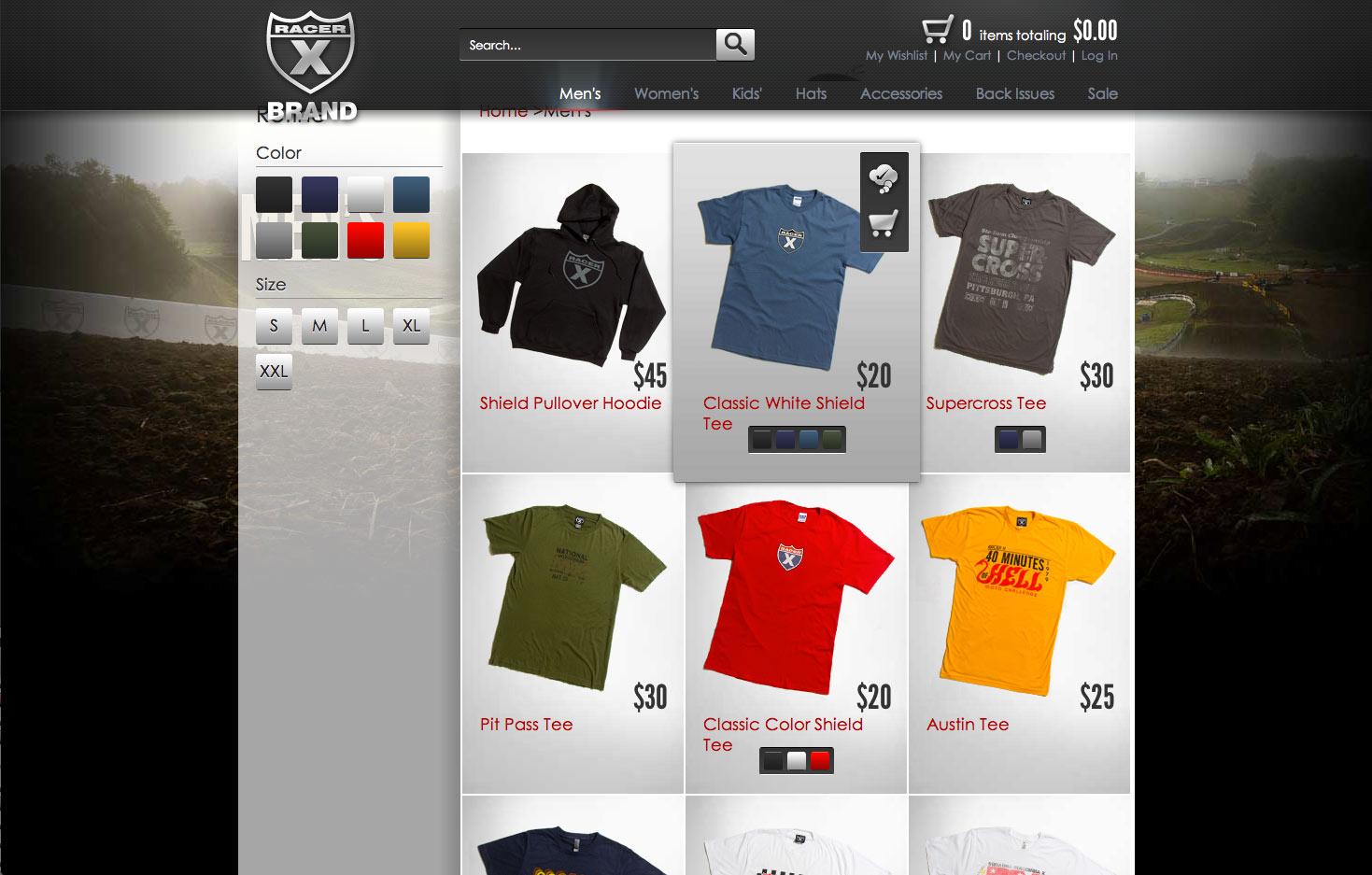 Racer x brand online store design development for Online store design